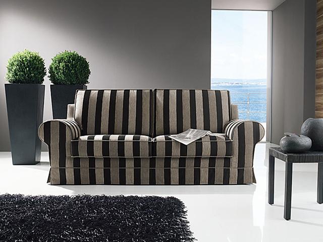 Divano classico 04 divano classico in pelle e tessuto - Divano classico in pelle ...