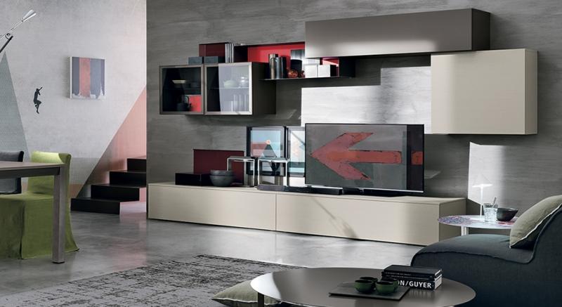 Composizione a008 composizione moderna soggiorno moderno for Composizione soggiorno moderno
