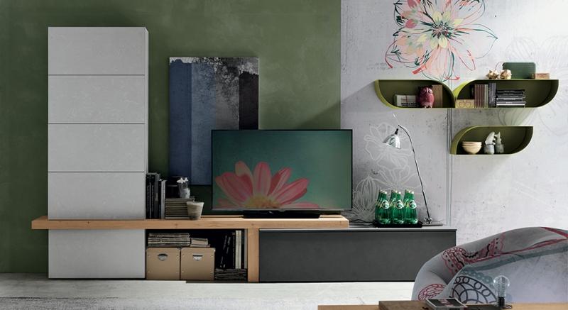 Composizione a010 composizione moderna soggiorno moderno for Composizione soggiorno moderno